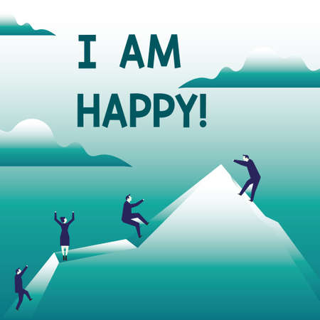Writing note showing I Am Happy. Business photo showcasing To have a fulfilled life full of love good job happiness