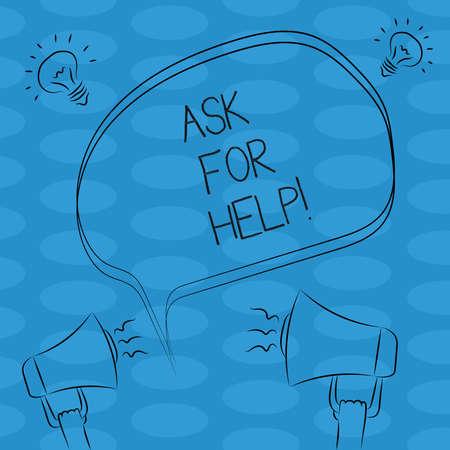 Escritura de texto Word pedir ayuda. Concepto de negocio para la solicitud de asistencia de apoyo necesaria Asesoramiento profesional Esquema a mano alzada Boceto del icono de Idea de sonido de megáfono de burbujas de discurso en blanco