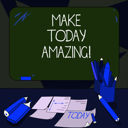 Handwriting text writing Make Today Amazing. Concept meaning encouraging someone to see bright positive side of day Mounted Blank Color Blackboard with Chalk and Writing Tools Sheets on Desk