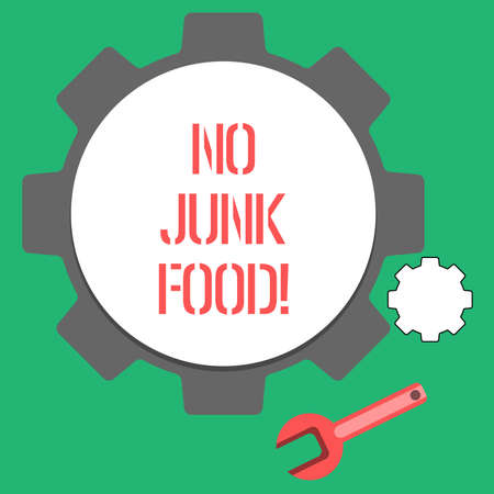 Text sign showing No Junk Food. Conceptual photo Stop eating unhealthy things go on a diet give up burgers fries