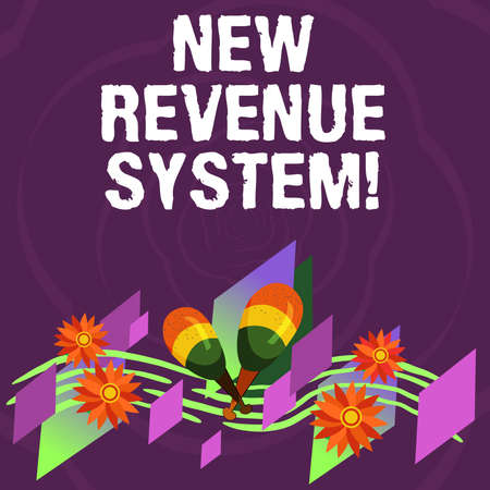 Handwriting text New Revenue System. Concept meaning income business got from its activities usually sales Colorful Instrument Maracas Handmade Flowers and Curved Musical Staff