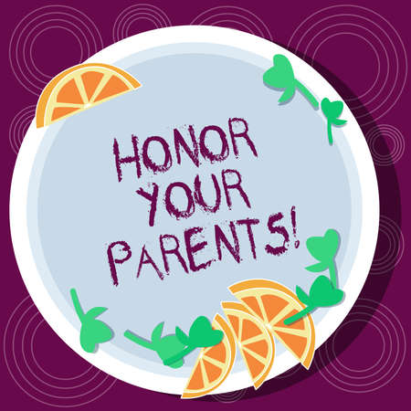 Word writing text Honor Your Parents. Business concept for high respect great esteem for your parents elderly Cutouts of Sliced Lime Wedge and Herb Leaves on Blank Round Color Plate Banco de Imagens
