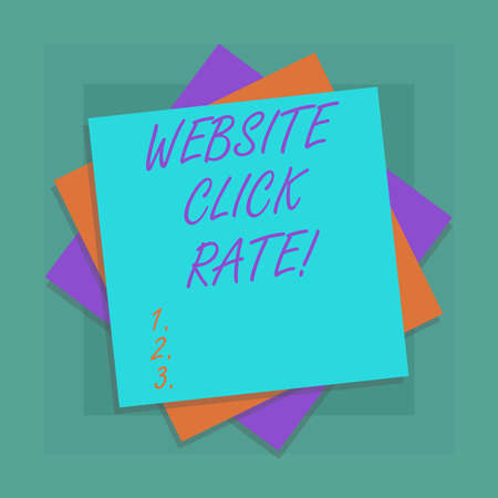Conceptual hand writing showing Website Click Rate. Business photo showcasing ratio users who click specific link to number total users Multiple Layer of Sheets Color Paper Cardboard with Shadow