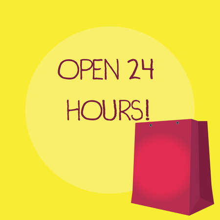 Conceptual hand writing showing Open 24 Hours. Business photo showcasing Working all day everyday business store always operating Stock Photo