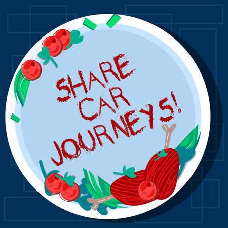 Writing note showing Share Car Journeys. Business photo showcasing when two or more showing travel together by vehicle Hand Drawn Lamb Chops Herb Spice Cherry Tomatoes on Blank Color Plate Stock Photo