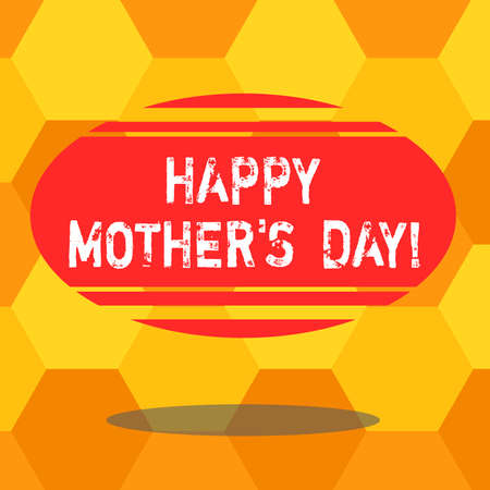 Handwriting text writing Happy Mother S Is Day. Concept meaning celebration honoring mums and celebrating motherhood Blank Color Oval Shape with Horizontal Stripe Floating and Shadow photo Banco de Imagens