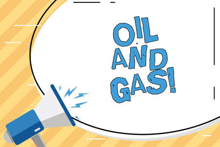 Word writing text Oil And Gas. Business concept for Exploration Extraction Refining Marketing petroleum products Stock Photo
