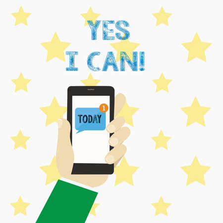 Text sign showing Yes I Can. Conceptual photo Motivation to do something have the enough strength to keep going Stock Photo