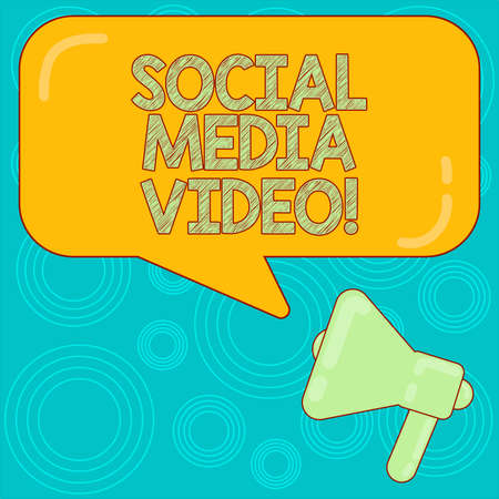 Word writing text Social Media Video. Business concept for website to share moments or content between friends Megaphone photo and Blank Rectangular Color Speech Bubble with Reflection