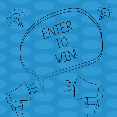 Word writing text Enter To Win. Business concept for Sweepstakes Trying the luck to earn the big prize Lottery Freehand Outline Sketch of Blank Speech Bubble Megaphone Sound Idea Icon