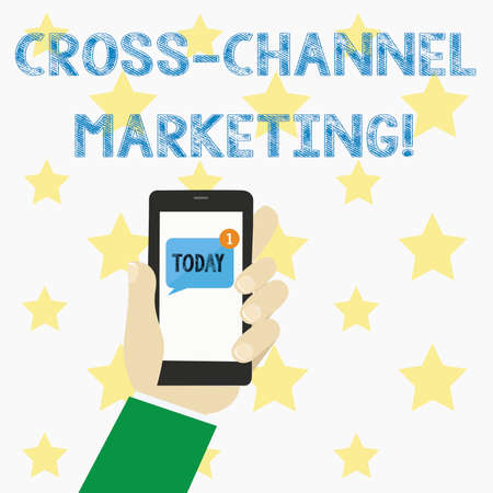 Text sign showing Cross Channel Marketing. Conceptual photo Engaging with customer across every digital channel Stock Photo