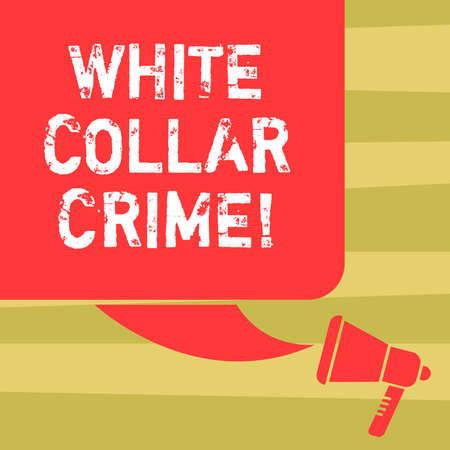 Text sign showing White Collar Crime. Conceptual photo refers financially motivated nonviolent crime by business Color Silhouette of Blank Square Speech Bubble and Megaphone photo