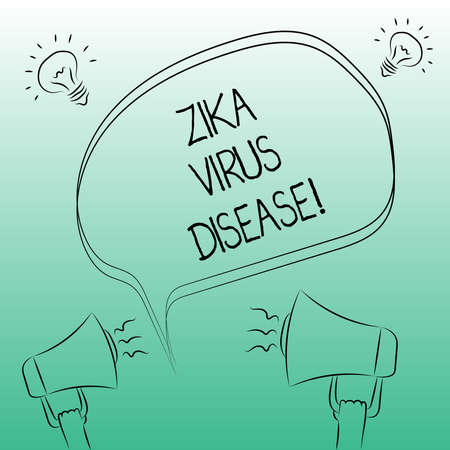 Handwriting text writing Zika Virus Disease. Concept meaning transmitted primarily Aedes mosquitoes which bite Freehand Outline Sketch of Blank Speech Bubble Megaphone Sound Idea Icon