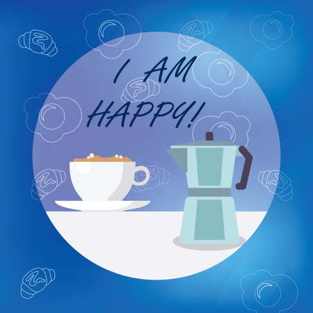 Conceptual hand writing showing I Am Happy. Business photo showcasing To have a fulfilled life full of love good job happiness