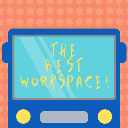 Writing note showing The Best Workspace. Business photo showcasing space in which to work with internet and good tools Drawn Flat Front View of Bus with Blank Color Window Shield Reflecting Stockfoto