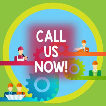 Word writing text Call Us Now. Business concept for Communicate by telephone to contact help desk support assistance