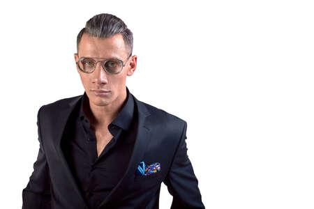 Portrait of a elegant handsome business man on white background 写真素材