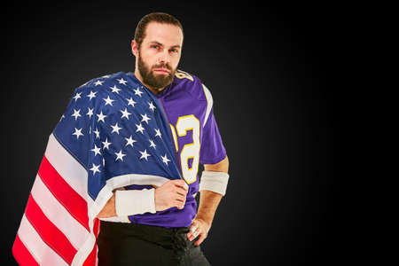 american Football Player with uniform and american flag proud of his country, on a white background.