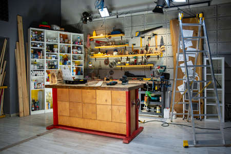 carpentry workshop equipped with the necessary tools 写真素材