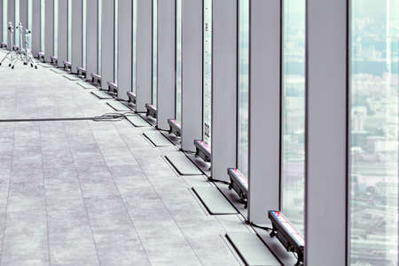 Architecture, texture, observation deck with columns goes into perspective Stock Photo