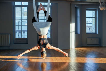 Beautiful girl aerial yoga trainer shows on hanging lines upside down in a yoga room.