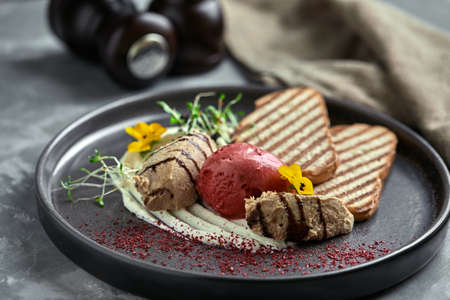 Duck paste with ice cream and grilled white bread croutons. Close-up, low key, gray background.