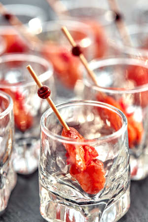 close-up canape with shrimp in glass soft background Stock Photo