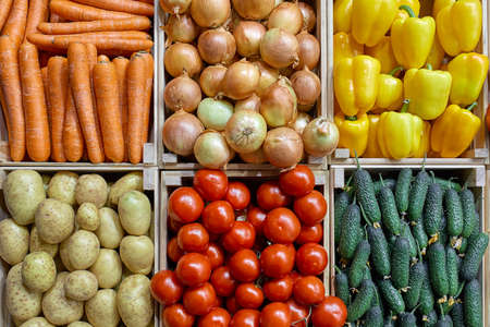 A counter with different vegetables in drawers is beautifully and evenly laid out from above. Carrots Potatoes cucumbers, bell peppers, onions, tomatoes.