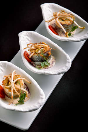 rolls of sea bass baked stuffed with vegetables and mushroom sauce, on a dark background, copy space