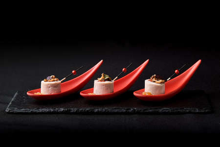 Goose liver pate, foie gras, served on black stone in Japanese red spoons. Paste served with jam and nuts. Fusion food concept, low key, copy space. Reklamní fotografie