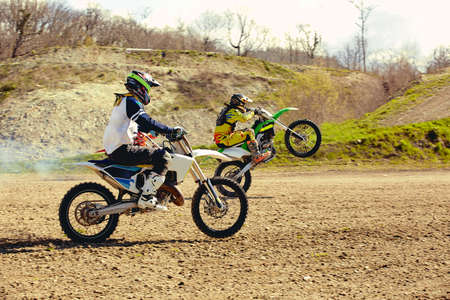motocross bike race speed and power in extreme man sport ,sport action concept.
