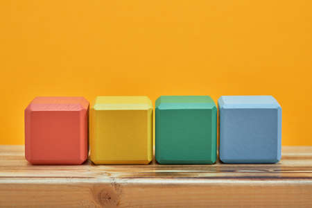 empty wooden cubes mockup style, copy space. Colourful blocks template for creative design, place for text