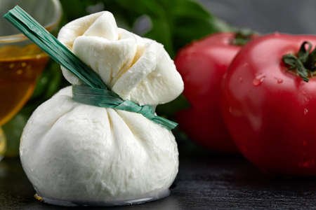 Cheese collection, fresh soft white burrata cheese ball made from mozzarella and cream from Apulia and tomato, Italy, close up Archivio Fotografico