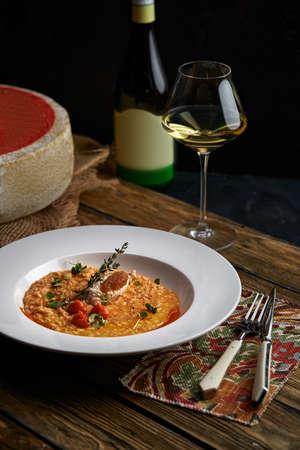 Spelt Pumpkin Mushroom Risotto on Grey Background, Tasty Vegetarian Meal