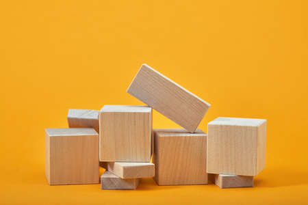 Square of empty wooden cubes mockup style, copy space. wooden blocks template for creative design, place for text