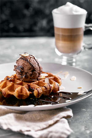 Viennese waffles with ice cream, chocolate. Close-up. On the plate 免版税图像