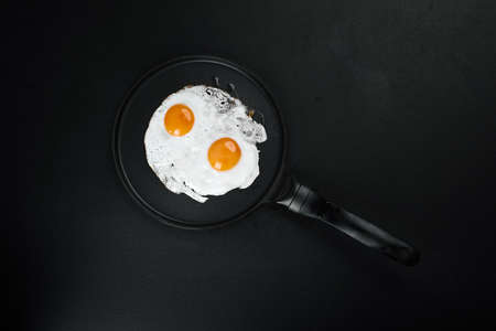 Fried Eggs In A Frying Pan on black background, copy space