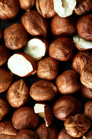 Close up of Hazelnut kernels - Food Frame Background, macro detailed close up. Standard-Bild