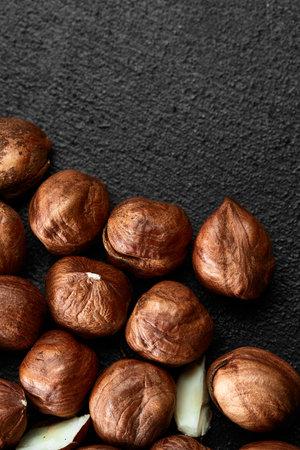 Close up of Hazelnut kernels - Food Frame Background, macro detailed close up. Banco de Imagens
