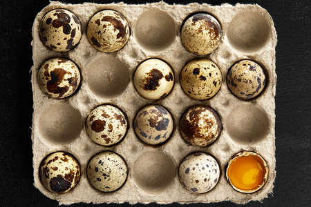 Quail eggs in the cardboard packing on the grey scratched table.