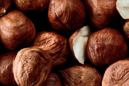 Close up of Hazelnut kernels - Food Frame Background, macro detailed close up. 스톡 콘텐츠