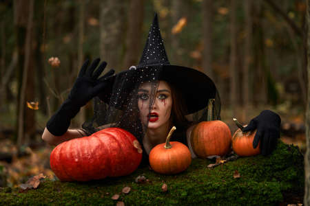 Young woman in black dress with witch hat and orange pumpkin placed around in the forest, Halloween concept. Horror theme. Reklamní fotografie
