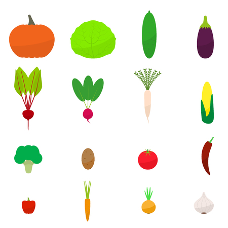 Vector set flat colored vegetables icon