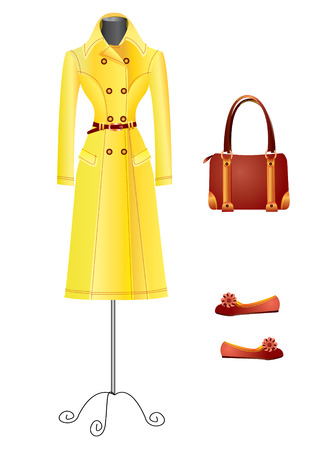 overcoat: Fashion.Clothes for woman Illustration