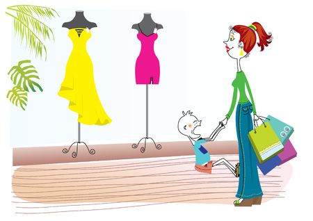 Woman wants a beautifull dress.Shopping Illustration