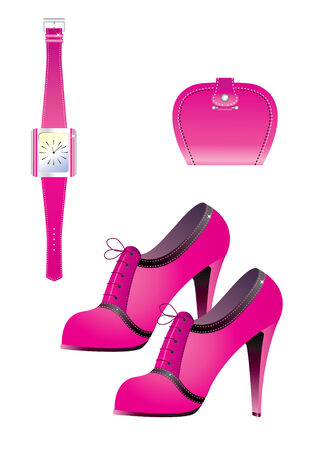 shoe box: Pink accessories. Shoes and watch