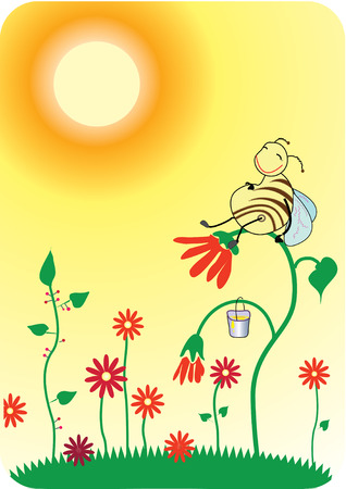Bee is sitting on a flower Illustration