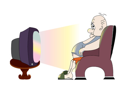 loafer: Man and television.TV Illustration