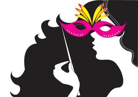femme masqu�e: Avec un masque de carnaval