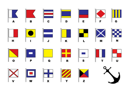 Sail flags. Alphabet Vector